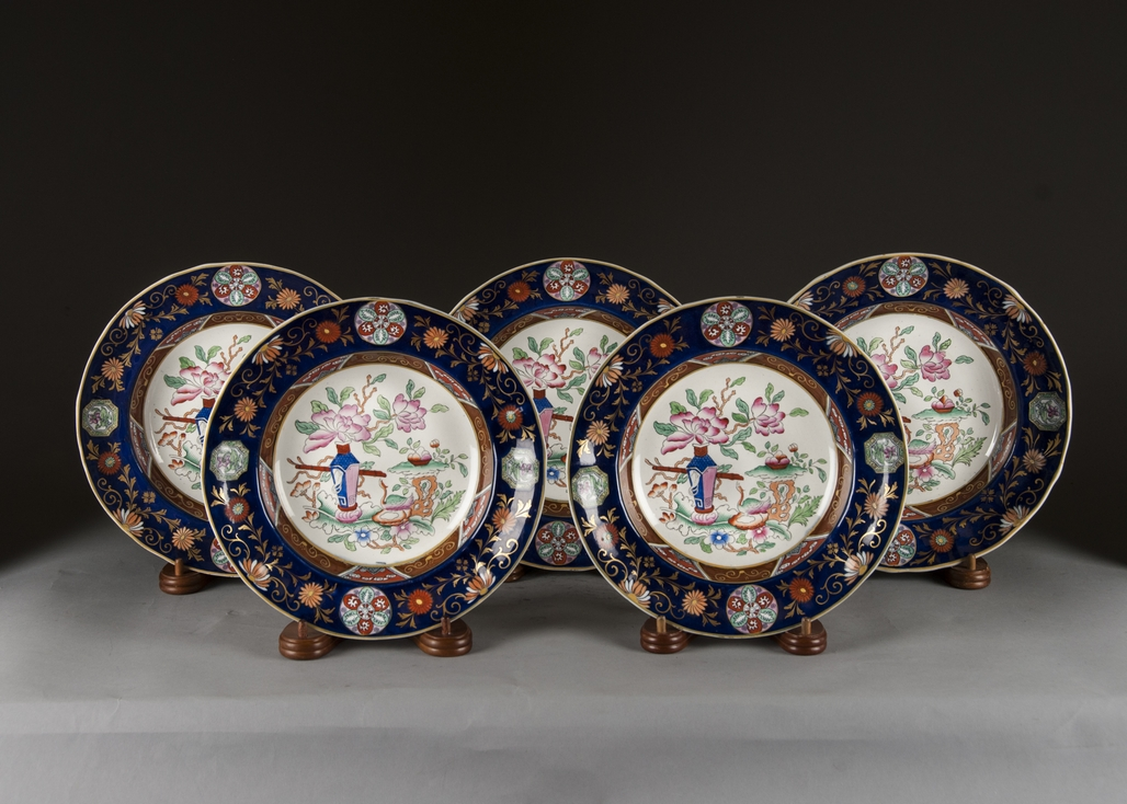 Antique English set of 5 ironstone plates with Imari decoration & Antique English set of 5 ironstone plates with Imari decoration ...