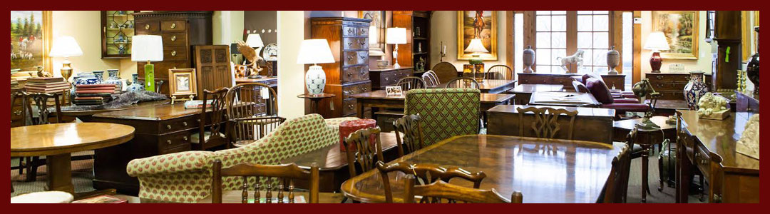 Caledonian Fine English Antiques showroom with a variety of antiques