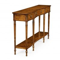 Reproduction English Walnut Inlaid Console Table
