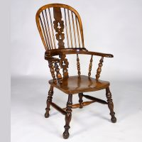Antique English Yew Wood Windsor Armchair