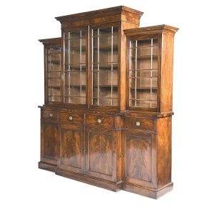 Antique English Mahogany Breakfront Bookcase