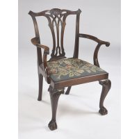 Antique English Mahogany Chippendale Style Armchair