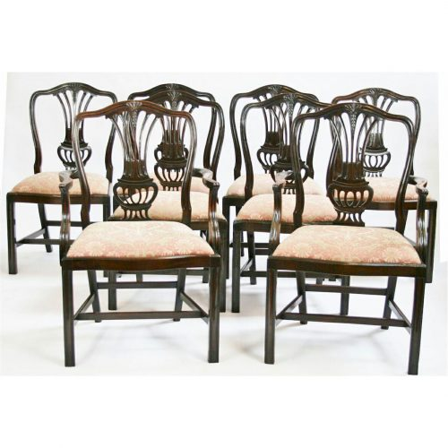 Antique English Set of 8 Hepplewhite Revival Dining Chairs